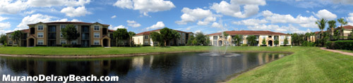 Many of the condo units at Murano of Delray Beach, FL look out to a tranquil lake view. This is the perfect setting for a relaxing evening on the balcony.
